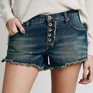 Free People Button Fly Cut Off Boho Short Shorts